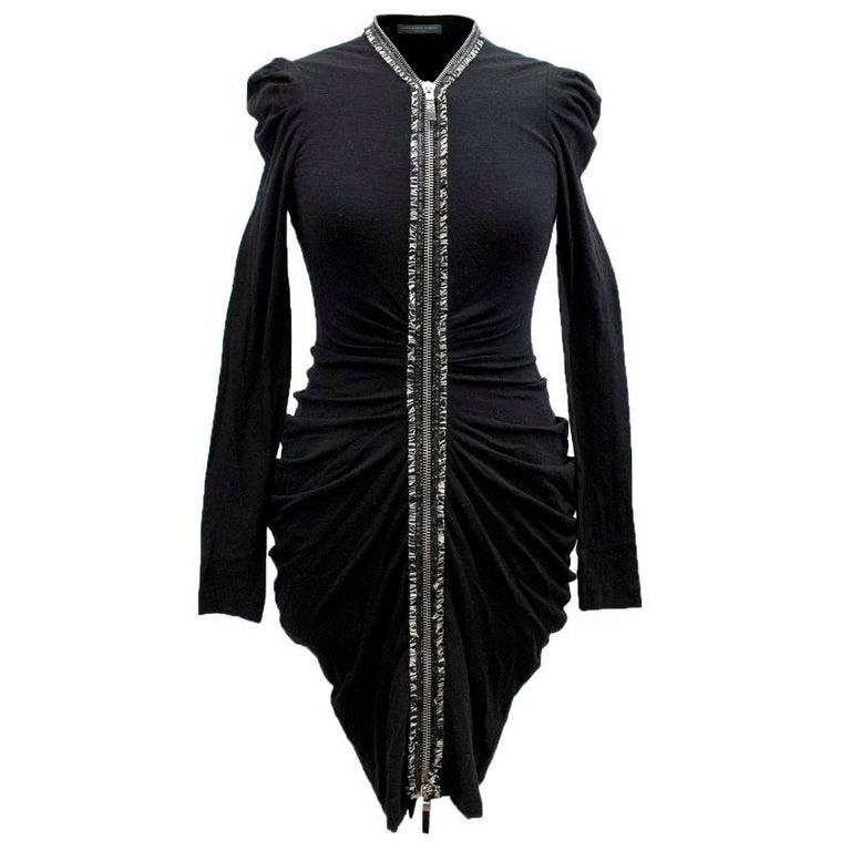 Alexander McQueen Black Ruched Zip Dress US 2 For Sale