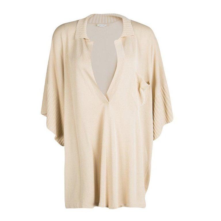 Hermes Beige Knit Open Side Detail Oversized Top L For Sale