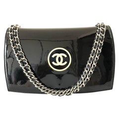 Chanel Wallet on Chain Cosmetic Line Flap 230337 Black Patent Leather Cross Body
