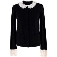 Dolce & Gabbana Crochet-Trimmed Cashmere Cardigan US 4