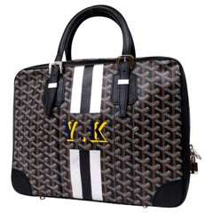 Goyard Chevron Goyardine Diplomat Briefcase Attache 230928 Black Laptop Bag