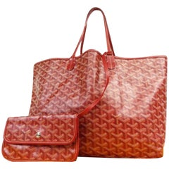 Goyard Chevron St Louis with Pouch 231060 Red Coated Canvas Tote