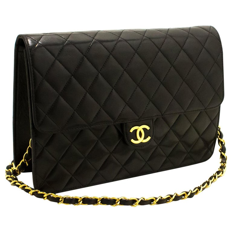 2557ce4a9d76 CHANEL Chain Shoulder Bag Black Clutch Flap Quilted Lambskin For Sale
