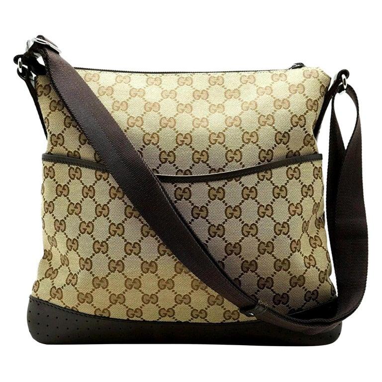 fb7e1a6fc7e Gucci Perforated Leather Monogram Signature Messenger 230270 Canvas Cross  Body For Sale