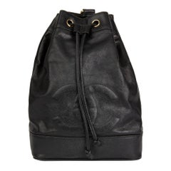 1990 Chanel Black Cavair Leather Vintage Timeless Single Strap Backpack