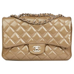 2014 Chanel Taupe Quilted Patent & Lambskin Leather Accordion Single Flap Bag