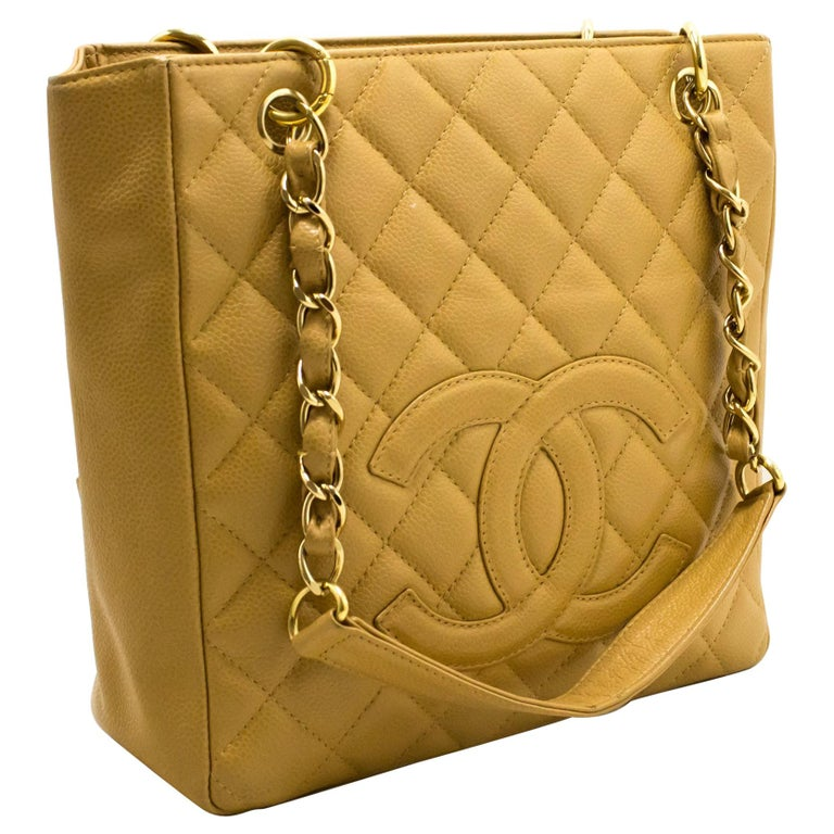 a4e19eae835f89 CHANEL Caviar PST Chain Shoulder Shopping Tote Bag Beige Quilted For Sale