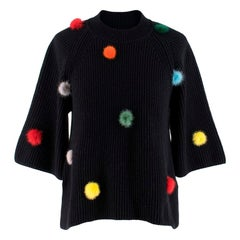 Fendi Black Cashmere Jumper with Mink Fur PomPoms US 4