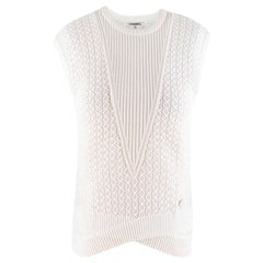 Chanel White Knit Sleeveless Top US 4