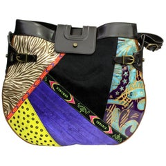 Gianni Versace Multicolor Leather and Suede Shoulder Bag