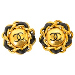 Chanel Gold And Black Logo Clip-On Earrings