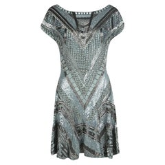 Matthew Williamson Grey Embellished Silk Cap Sleeve Dress M