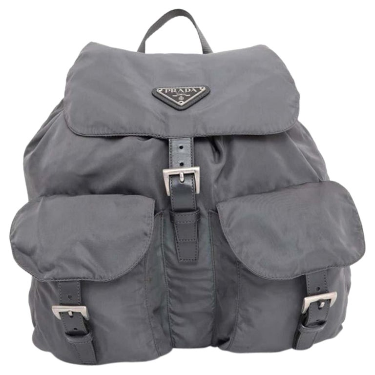 c492964cb56b Prada Double Charcoal Pocket 230313 Grey Nylon Backpack For Sale at ...