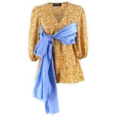 Anna October wrap-waist silk-twill top US 6