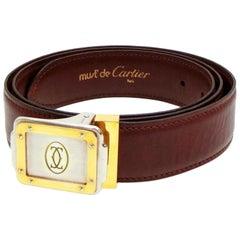 Cartier Burgundy Bordeaux Santos Logo 229646 Belt