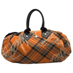 Vivienne Westwood orange-tartan top-handle bag