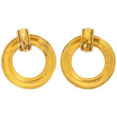 Chanel Gold Hoop Clip-on Earrings