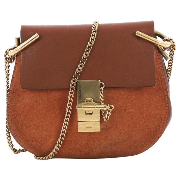 Chloe Drew Crossbody Bag Leather and Suede Mini