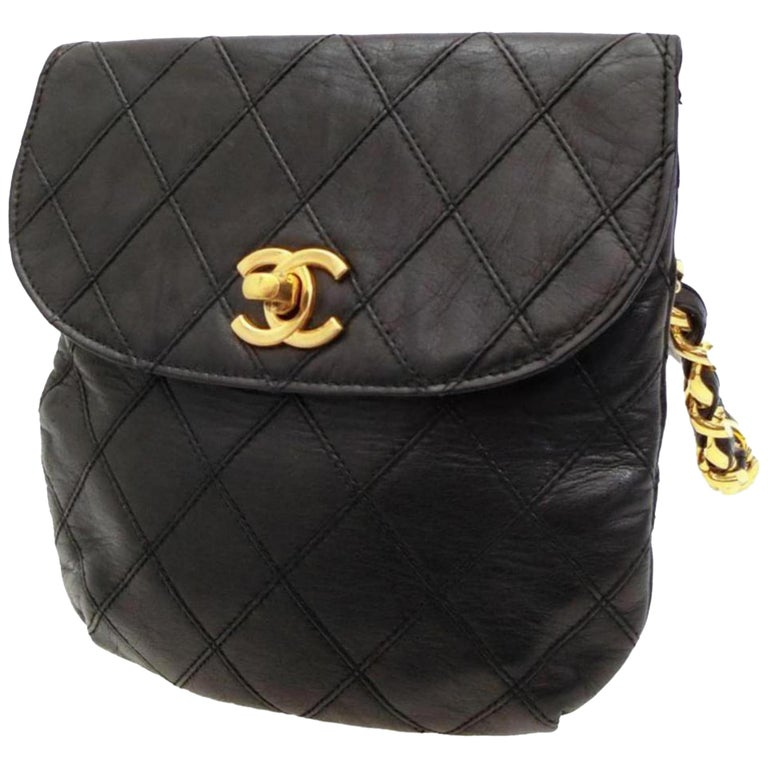 304a3314388acd Chanel Quilted Lambskin Chain Waist Pouch Fanny Pack 228921 Cross Body Bag  For Sale