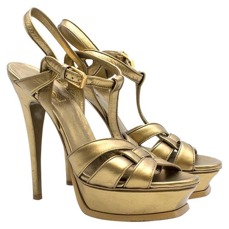 e21e60daf2b Saint Laurent Tribute gold leather platform sandals US 7 For Sale at ...
