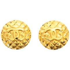 Chanel Golden Logo Clip On Earrings
