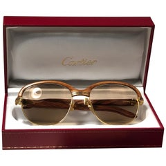 Cartier Wood Malmaison Precious Light Wood and Gold 56mm Sunglasses
