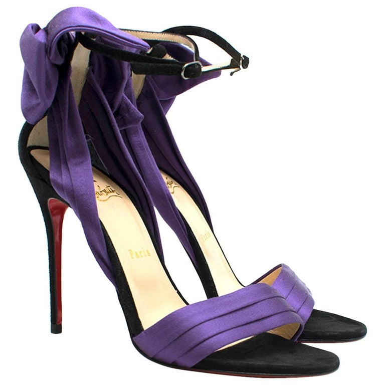 separation shoes 99049 7b5a9 Christian Louboutin Vampanodo purple satin sandals US 8