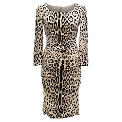 Dolce & Gabbana Leopard Print Silk Dress US 4
