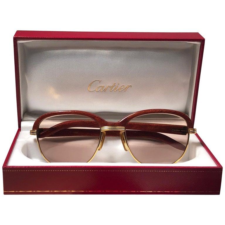 96f7a5da56 Cartier Wood Malmaison Precious Wood Palisander and Gold 56mm Sunglasses at  1stdibs