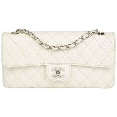2005 Chanel White Quilted Caviar Leather East West Classic Single Flap Bag
