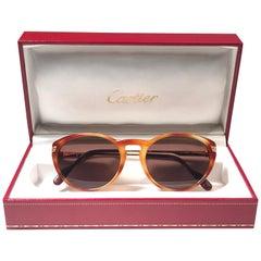 New Vintage Cartier Aurore Dore Miel Sunglasses Brown France 18k Gold 1991