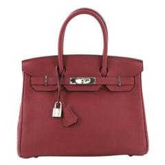Hermes Birkin Handbag Rouge Grenat Togo with Palladium Hardware 30