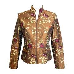Giuliana Cella Milan Embroidered Brown Silk Jacket
