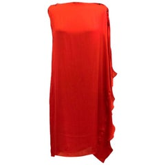 Lanvin Red Silk Asymmetric Dress US 6