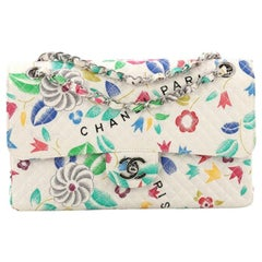 Chanel Vintage Classic Single Flap Bag Floral Print Quilted Canvas Medium