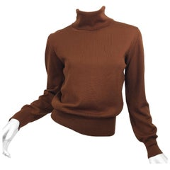 Vintage Escada by Margaretha Ley 1990s Caramel Brown Wool Turltleneck Sweater