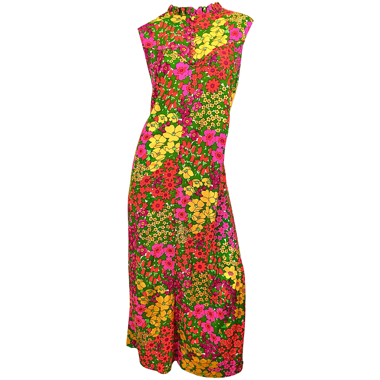 1970s Liberty House Plus Size 16 / 18 Colorful Neon Flower Print 70s Maxi  Dress