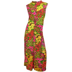 1970s Liberty House Plus Size 16 / 18 Colorful Neon Flower Print 70s Maxi Dress
