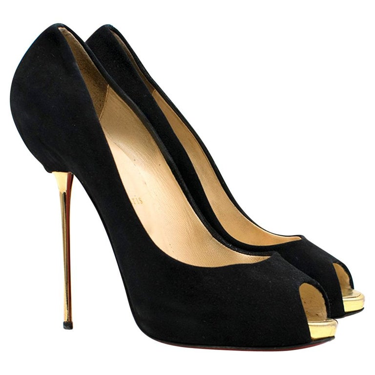 on sale 3f111 a7051 Christian Louboutin Black Metallic Peep-toe Heels US 9