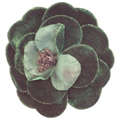 Chanel Forest Green Flower Brooch