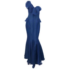 J. Mendel Couture Size 4 Navy Blue Silk Chiffon One Shoulder Mermaid Gown
