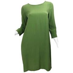 Max Mara 1990s Size 6 Olive / Avocado Green Silk Vintage 90s Tunic Dress