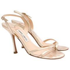 Jimmy Choo Gold Leather Sandals US 7.5