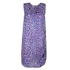 Lanvin Multicolor Animal Printed Silk Frayed Hem Pleat Detail Sleeveless Dress M