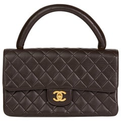 1991 Chanel Chocolate Brown Lambskin Vintage Medium Classic Kelly Flap Bag