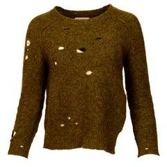 Isabel Marant Green Knit Distressed Sweater W/ Side Slit Sz 38