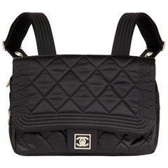 2005 Chanel Black Quilted Nylon Sports Line Backpack