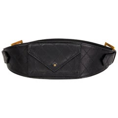 1990 Black Quilted Lambskin Vintage Timeless Belt Bag