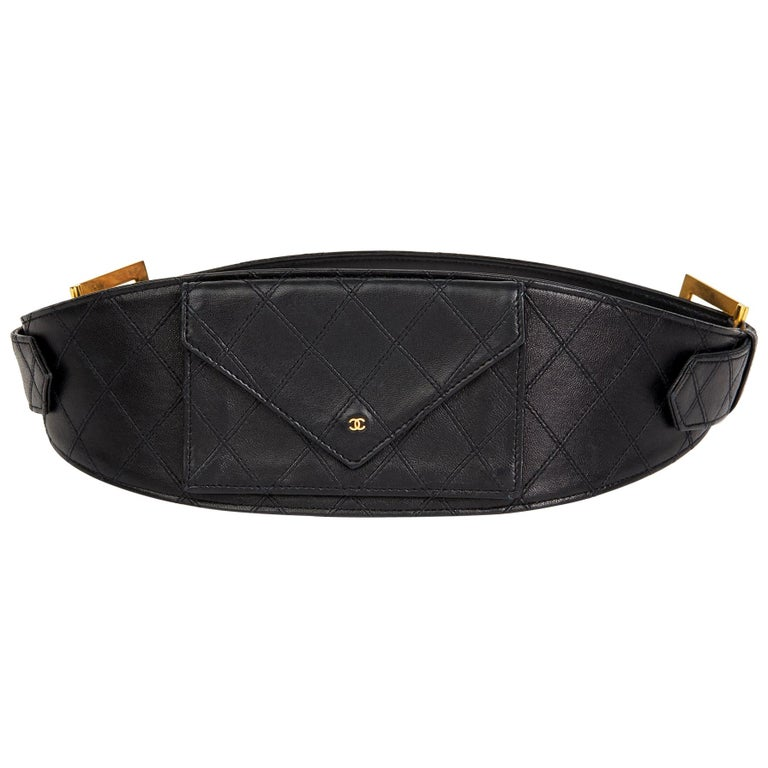 1990 Black Quilted Lambskin Vintage Timeless Belt Bag For Sale