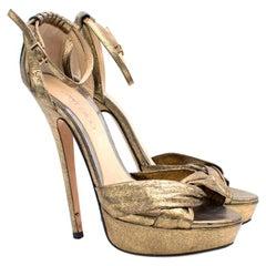 Jimmy Choo Greta Lame Gold Platform Sandals US 8
